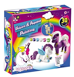 AMAV Toys 3D Unicron & Pegasus Painting Kit - All Inclusive & Ready to Paint - Enhance Creativity, Imagination & Improve Motor Skills - Best DIY Activity - Ideal Present for Unicorn Lovers Aged 3+