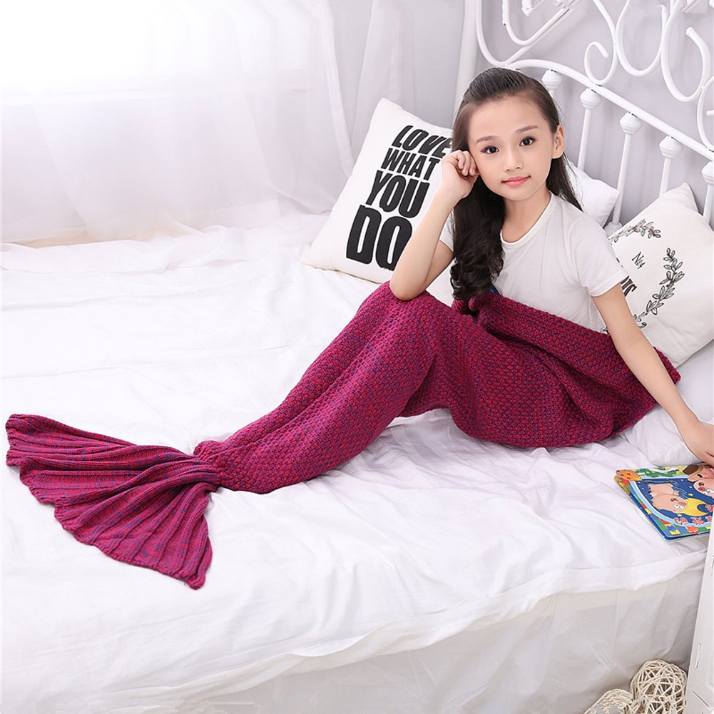 Roluck Mermaid Tail Blanket Handmade Warm Keeper Autumn Winter Blanket for Girls (Rose Red) by Roluck (Image #6)
