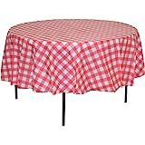 精致 12 个装优质圆形塑料方格烧烤桌布 - 格纹棋盘一次性塑料桌布 213.36 厘米。 圆形 红色 unknown