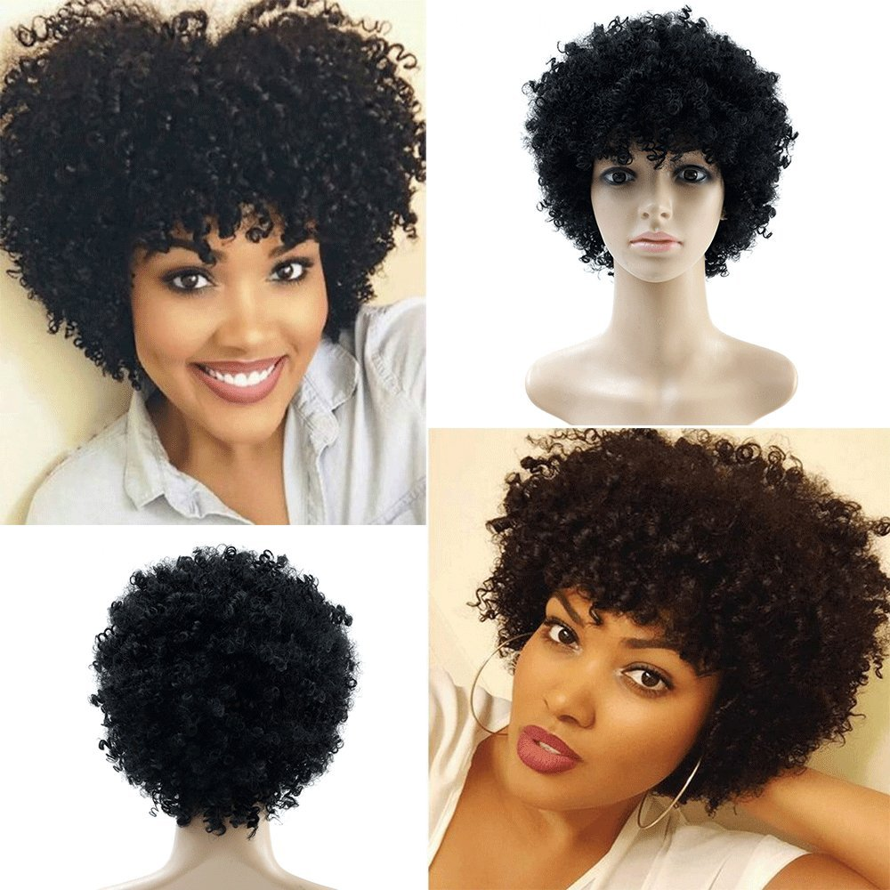 Afro Kinky Short Curly Natural Hair Wigs for Black Women Synthetic Non Lace Wig 713495110320 | eBay