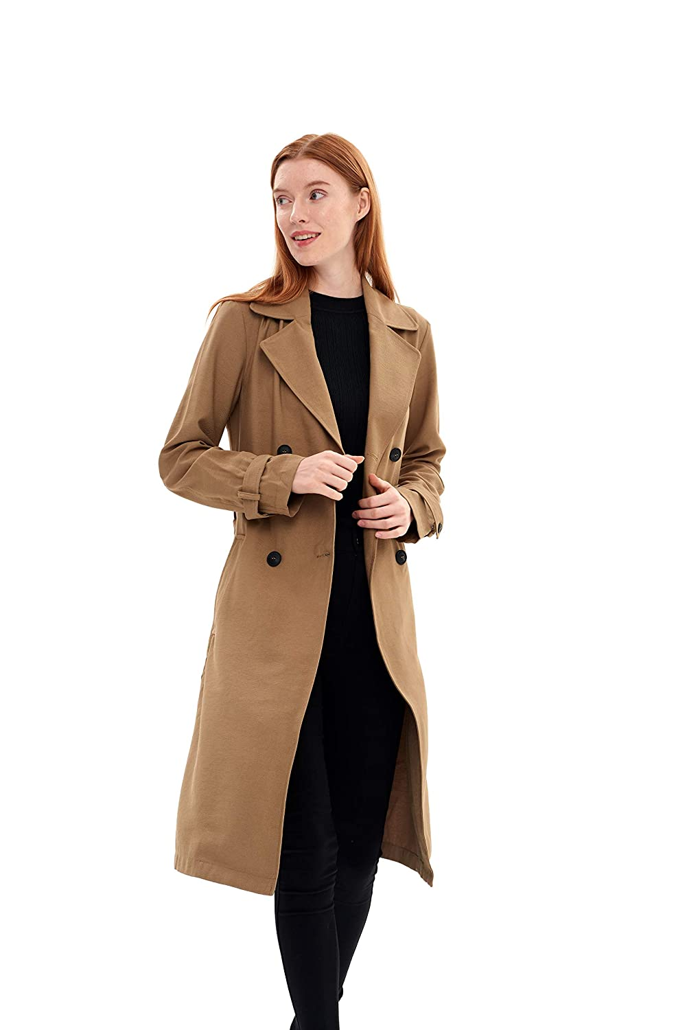 Khaki Charis Allure Womens Lace-up Double-Breasted Lapel Trench Coat