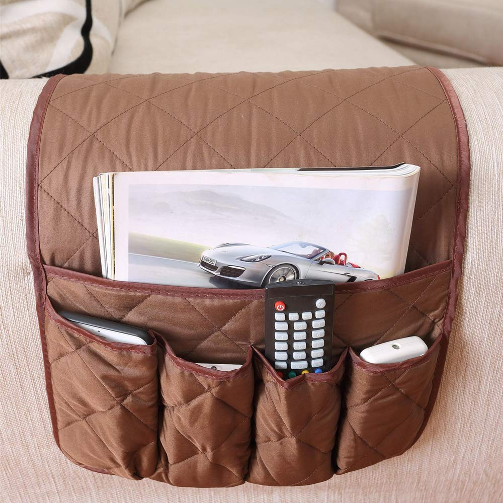 ZONK Non-Slip Couch Sofa Armrest Organizer Magazine Holders Chair Recliner Armchair Caddy Pocket for Remote Control Holder, Cell Phone, Ipad, Book Storage (Coffee)
