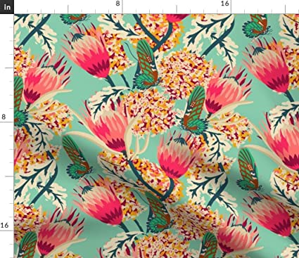 efbf52b057ff1 Amazon.com: Spoonflower Floral Blooming Buds Fabric - Textured Mint ...