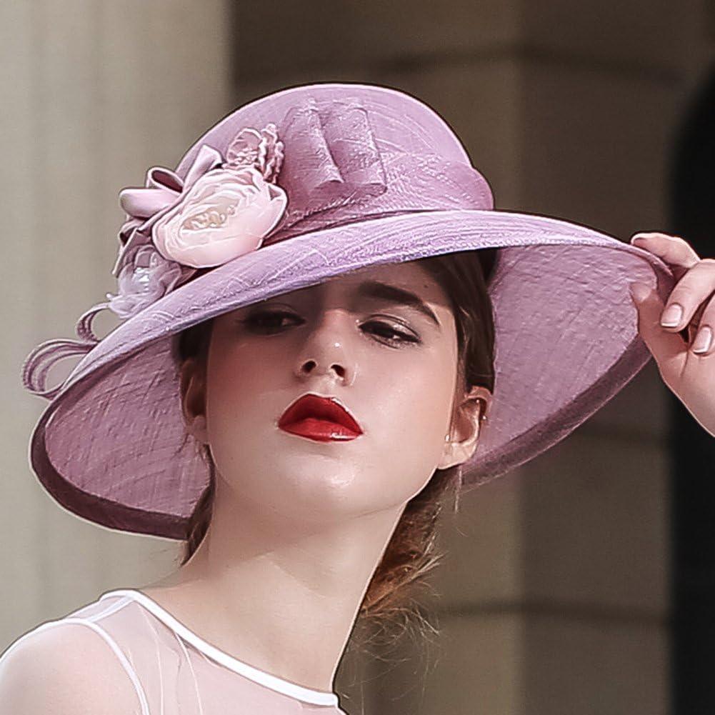 Kueeni Women Hats Church Hats Elegant Lady Sinamay Hats Black Color