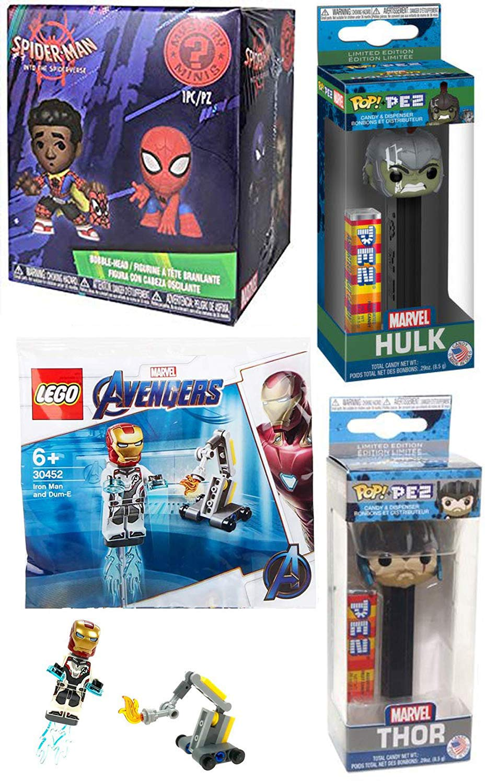 Funko HulkVerse Spider-Man Mini Mystery Figures Blind Box into Spider-Verse Bundle Iron Man Avengers Mini kit 4-Items Thor /& Incredible Hulk Pez Head Pop Dispensers