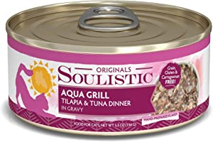Soulistic Originals Aqua Grill Tilapia & Tuna Dinner in Gravy Wet Cat Food, 5.5 oz., Case of 8, 8 X 5.5 OZ