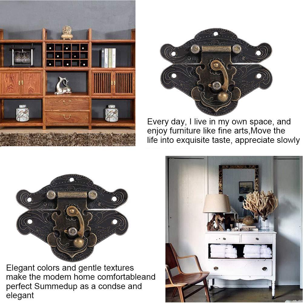 Antique Embossing Latch Haspe Verschluss Lock Holz Case Hasp Latch Kleine Box Hardware Gravierte Designs Scharniere Latch mit Schrauben f/ür Holz Schublade Schmuck Box Case Cabinet S