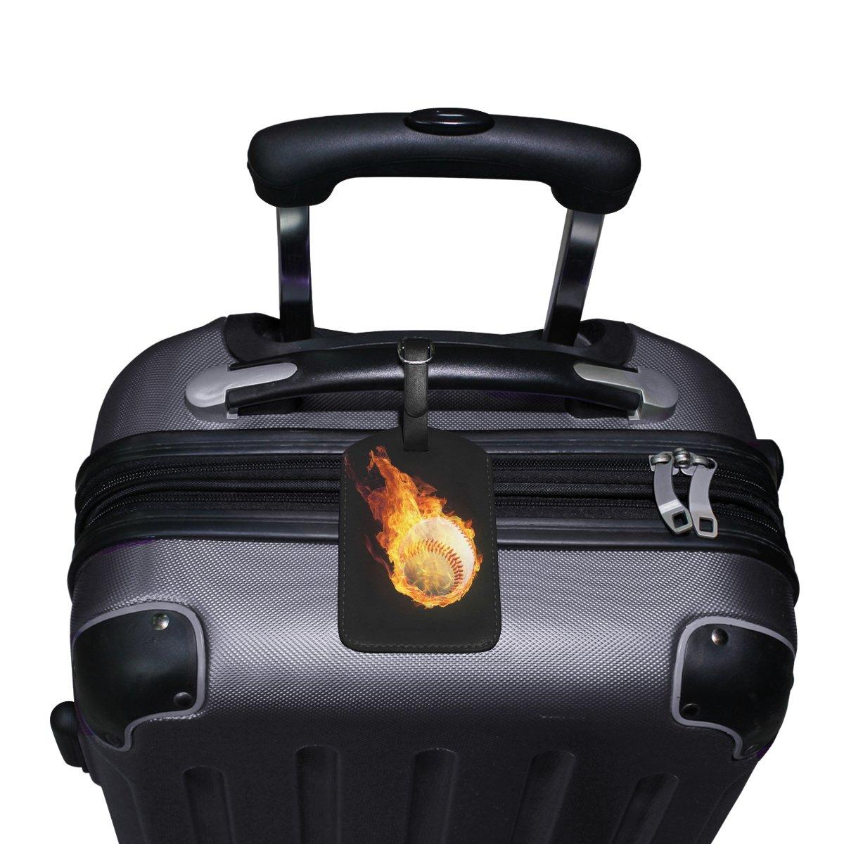 Saobao Travel Luggage Tag Baseball On Fire PU Leather Baggage Suitcase Travel ID Bag Tag 1Pcs