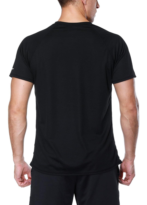Vegatos Mens UV Swim Shirts Short Sleeve Rash Guard Quick Dry Swimwear Tops