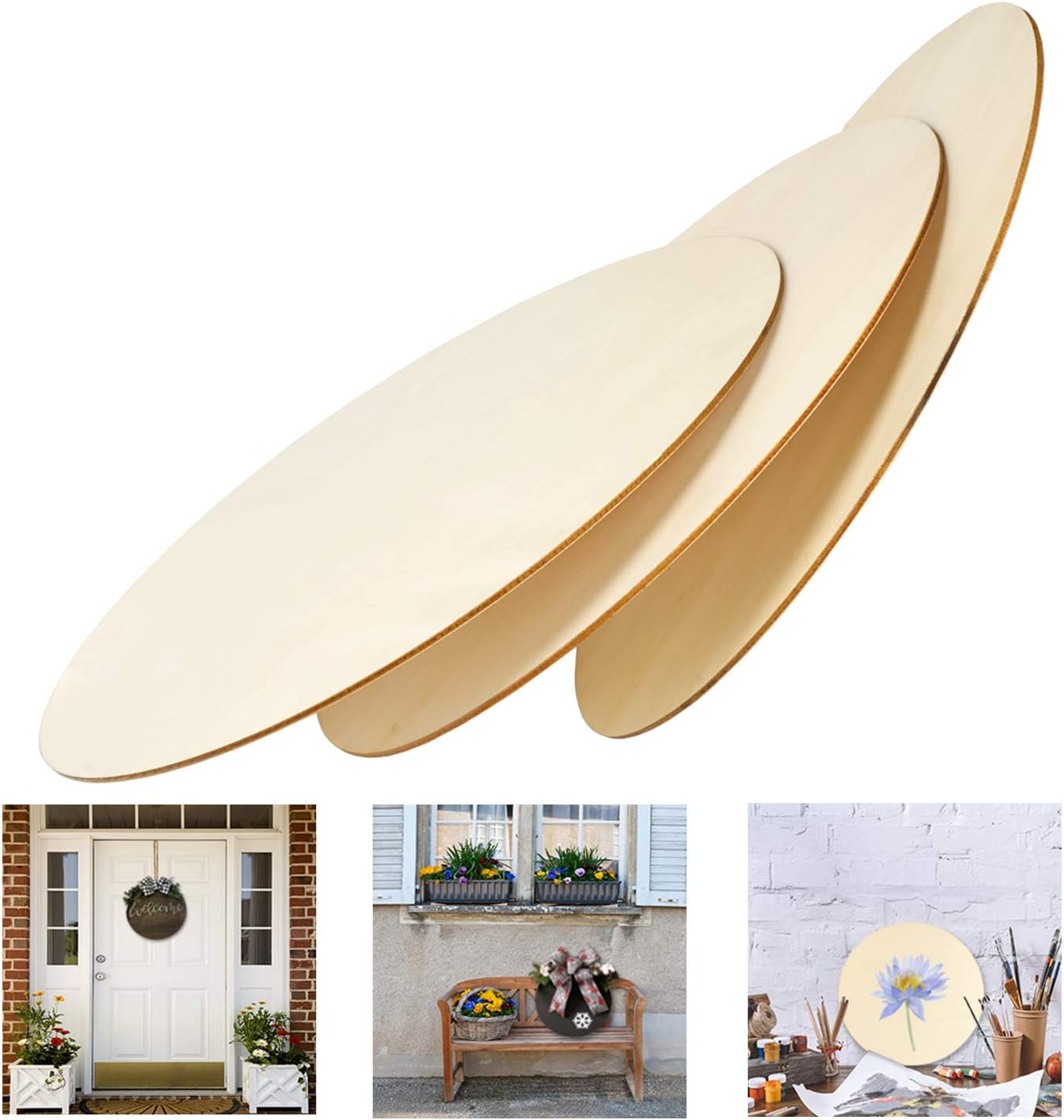 10 Pcs Unfinished Wooden Circle Shapes,8 inch Wood Circle Cutouts DIY Coasters Party Favours Gift Idea Home Decoration Craft