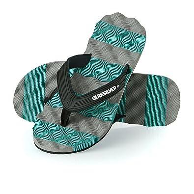 2cf3d0a0ba9c Mens Quicksilver Massage Beach Lightweight Summer Holiday Flip Flops -  Turquoise Grey - 11