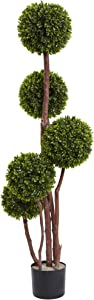 Nearly Natural 5428 4ft. Boxwood Topiary Tree UV Resistant (Indoor/Outdoor),Green,4-Feet