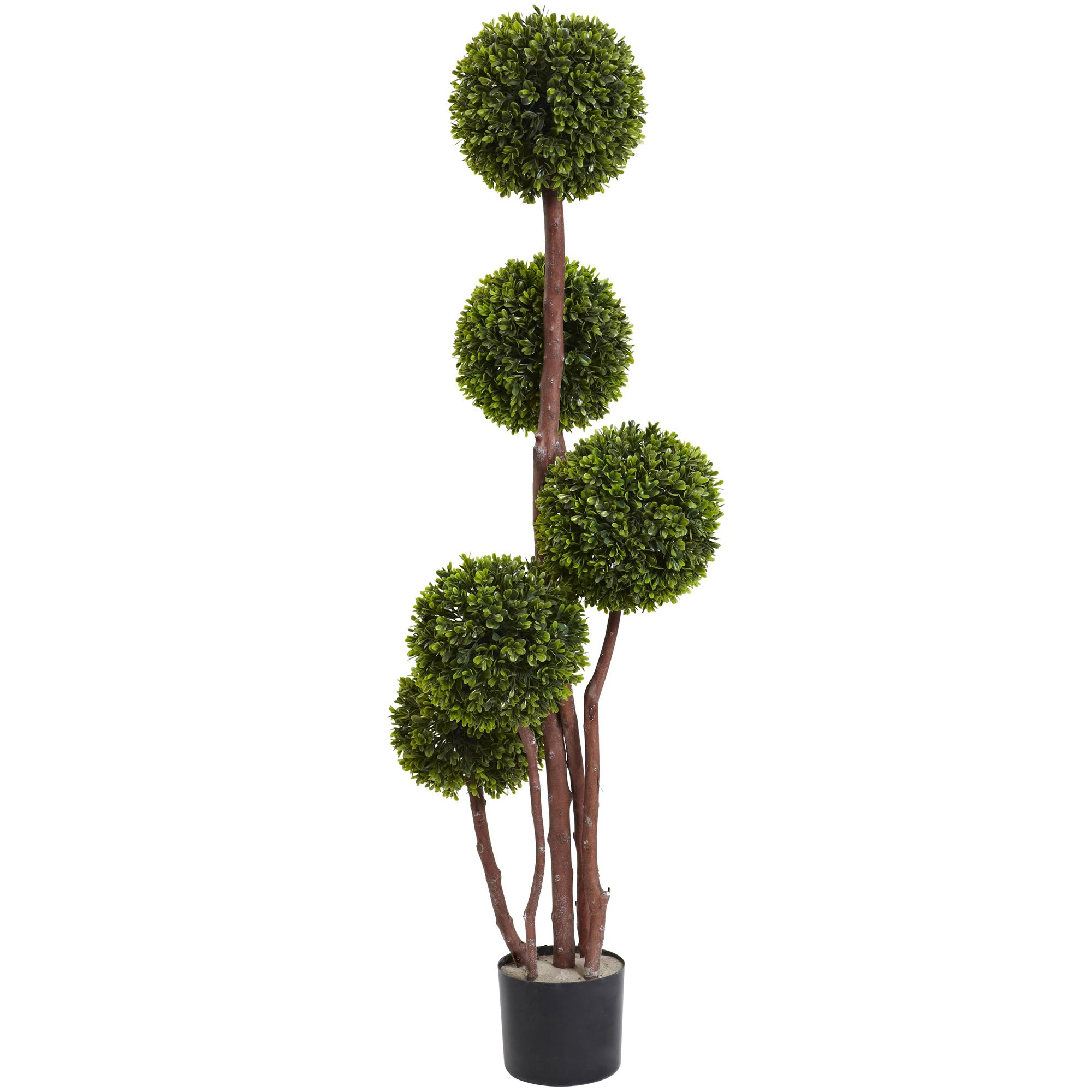 Nearly Natural 5428 Boxwood Topiary by 5 with 420 Leaves UV Resistant, 4-Feet