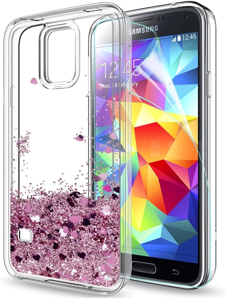 LeYi Coque Galaxy S5 Etui avec Film de Protection écran, Fille Personnalisé Liquide Paillette Transparente 3D Silicone Gel TPU Antichoc Kawaii Housse ...