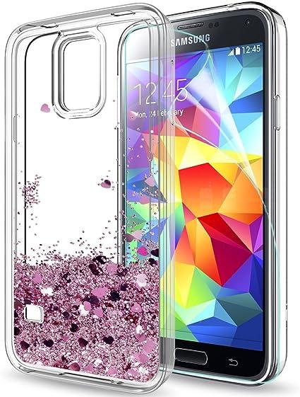LeYi Compatible con Funda Samsung Galaxy S5 / S5 Neo Silicona Purpurina Carcasa con HD Protectores de Pantalla,Transparente Cristal Bumper Telefono Gel TPU Fundas Case Cover Para Movil S5 ZX Oro Rosa: