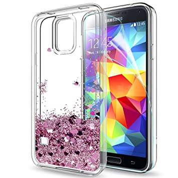 buy online da282 a0e9c LeYi Galaxy S5 Case with Screen Protector, Girl Women 3D Glitter Liquid  Moving Cute Personalised Clear Transparent Silicone Gel TPU Shockproof  Phone ...