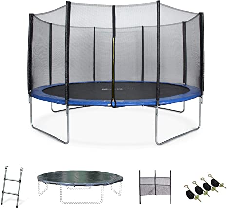 Alice S Garden 14ft Trampoline Blue Safety Enclosure Ladder Cover Storage Net For Shoes And Anchor Kit Max User Weight 100kg 220lbs 150kg 330lbs Using The Anchor Kit Amazon Co Uk Sports