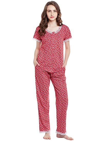 bd51ad1d25 Claura Cotton Printed Lower and Top (Night Suit Set ): Amazon.in ...