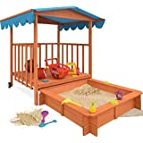 Wooden Sandpit Sandbox with Lid Play Veranda Sand Box Pit Cover Kids 143x130x130cm