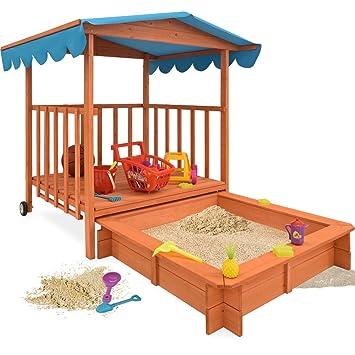Bac  Sable En Bois Jeu Enfant Jardin  Avec Toit Protection Uv