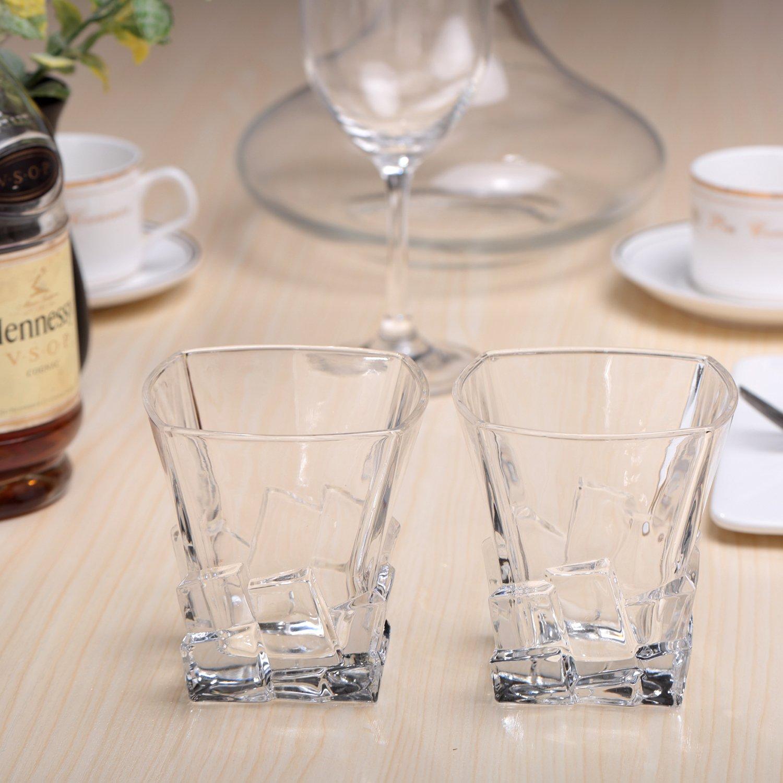 Cooko Iceberg Verres /à Whisky Bourbon Transparents Verres /à Boire,Accessoires de Vin Pour Whisky Cocktail 10.6 oz Jus 300ML Lot de 2