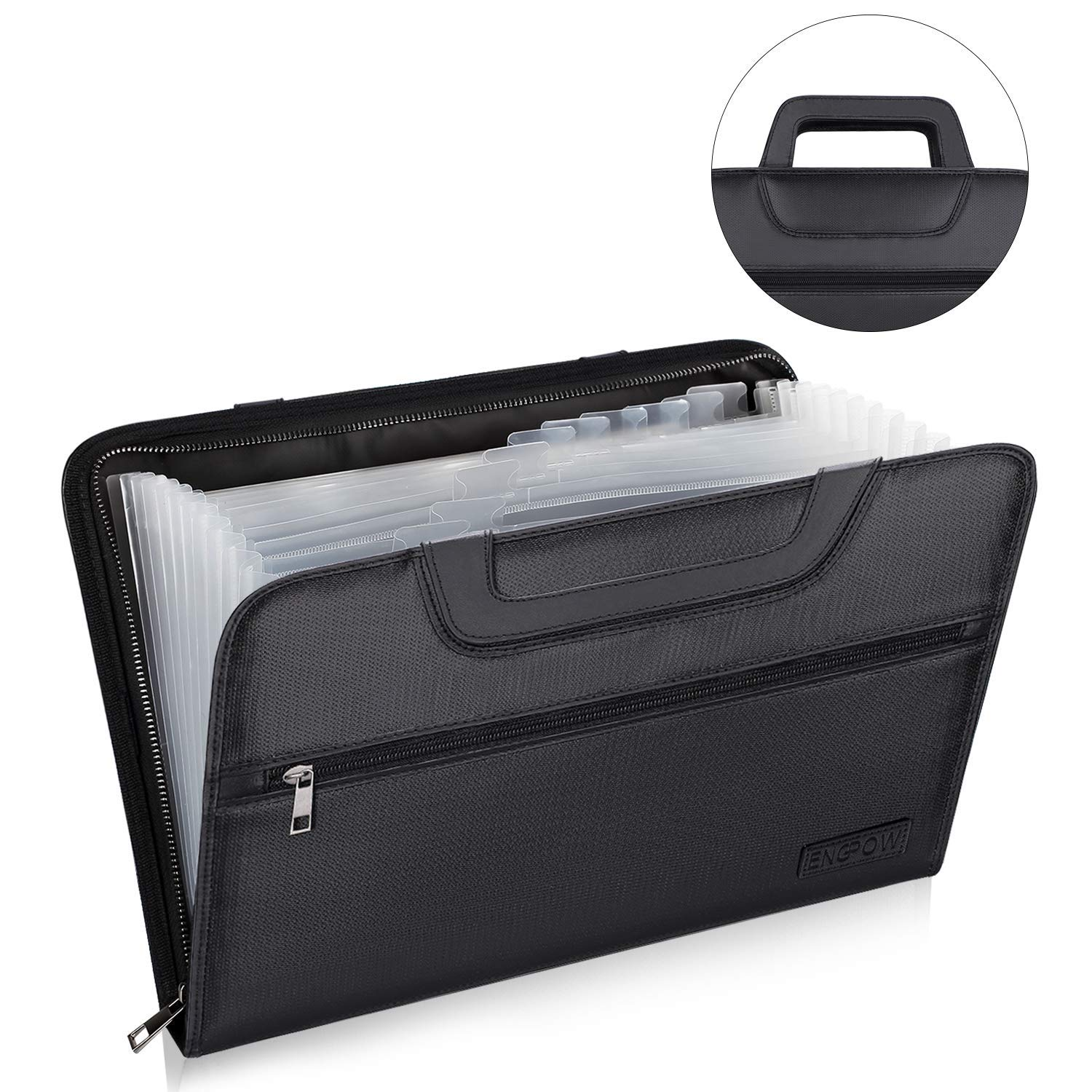 ENGPOW Expanding File Folder with Portable-Handle Document Organizer Briefcase Business Filing Bag A4 and Letter Size 13 Pockets Labels Zipper Closure Fireproof Non-Itchy Silicone Coated by ENGPOW