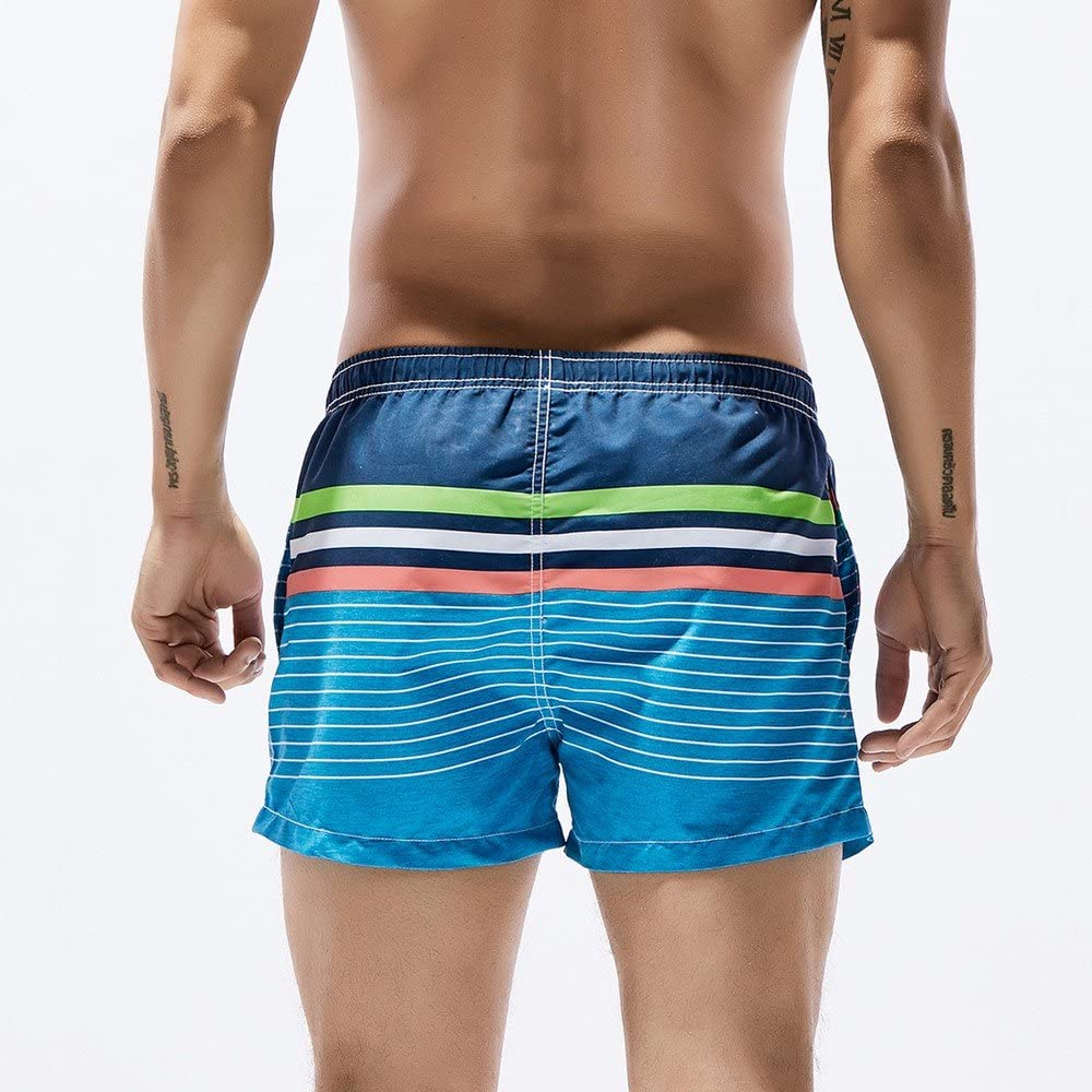 Malbaba Mens Printed Breathable Swim Trunks Pants Swimwear Stripe Printing Slim Shorts