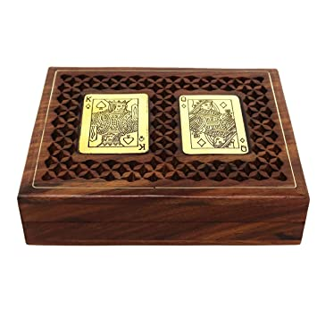 Toyinngg Antique Look Handmade Wooden Playing Cards Storage Box Case Holder for 2 Decks