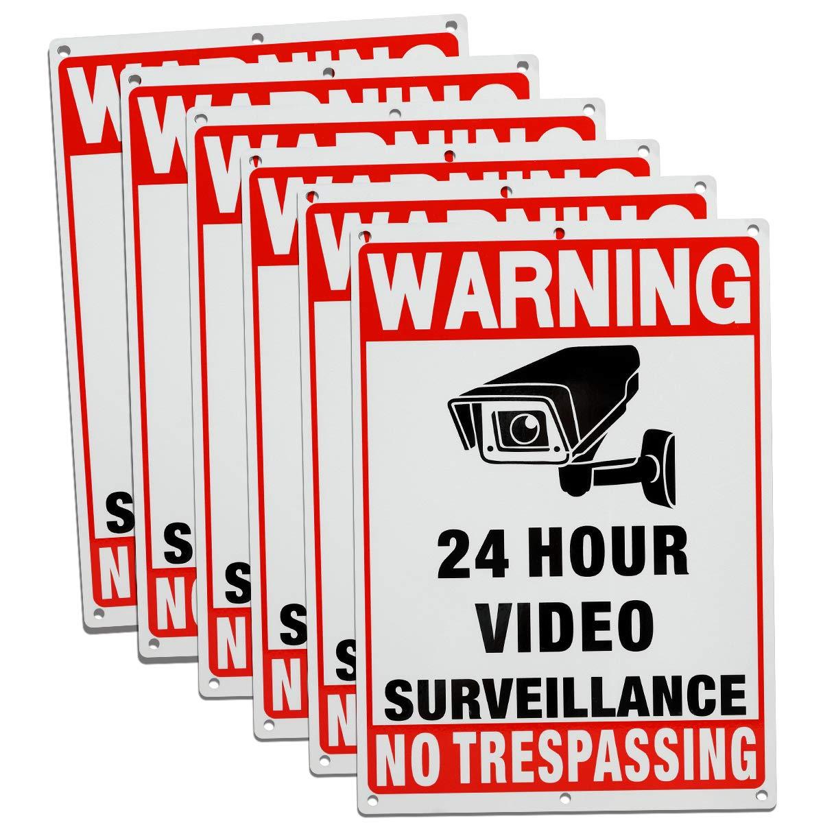 6-Pack Video Surveillance Sign,xing-ruiyang Aluminium Reflective No Trespassing Private Property Warning Sign, Easy to Mount, UV Printed & Weather Resistant for Home Business CCTV Security Camera