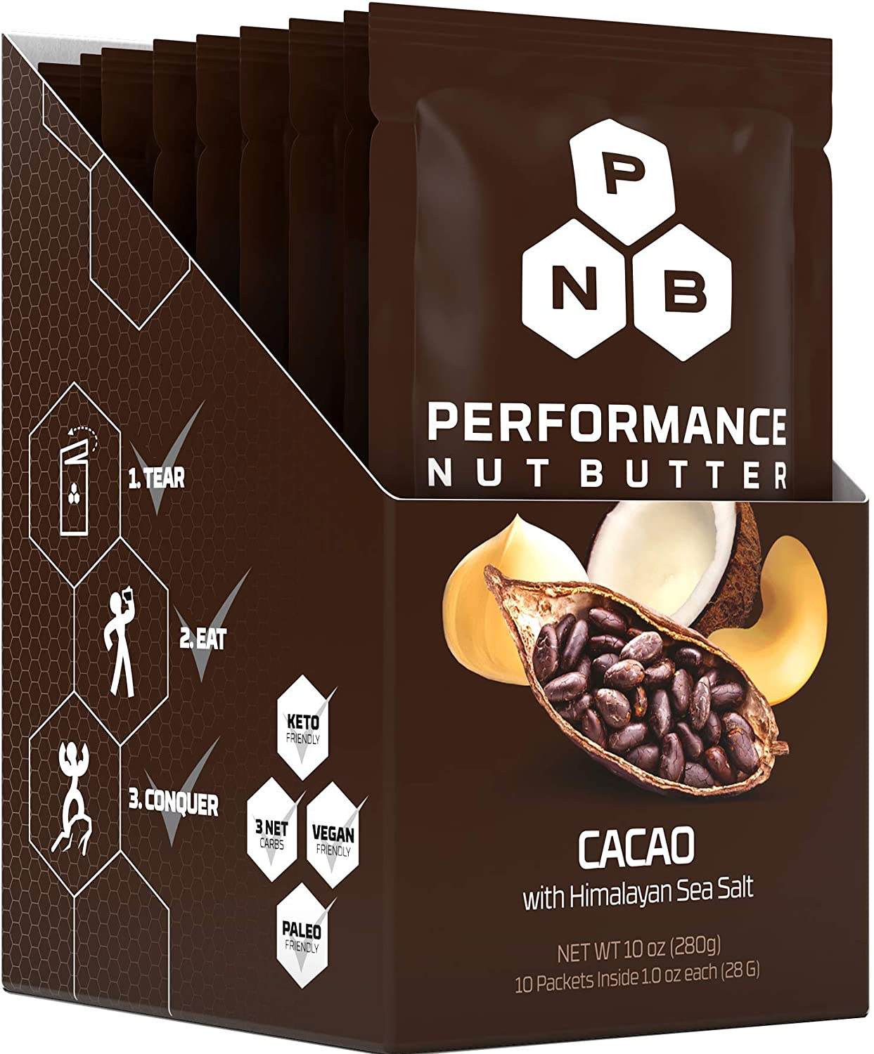 Keto Nut Butter Cacao, Cashew, Coconut & Macadamia Whole 30 Approved Food, Healthy Choc Fat Bomb Packets - Paleo & Vegan Friendly Low Carb Snacks, Perfect Ketogenic Diet Foods - Zero Added Sugar Snack
