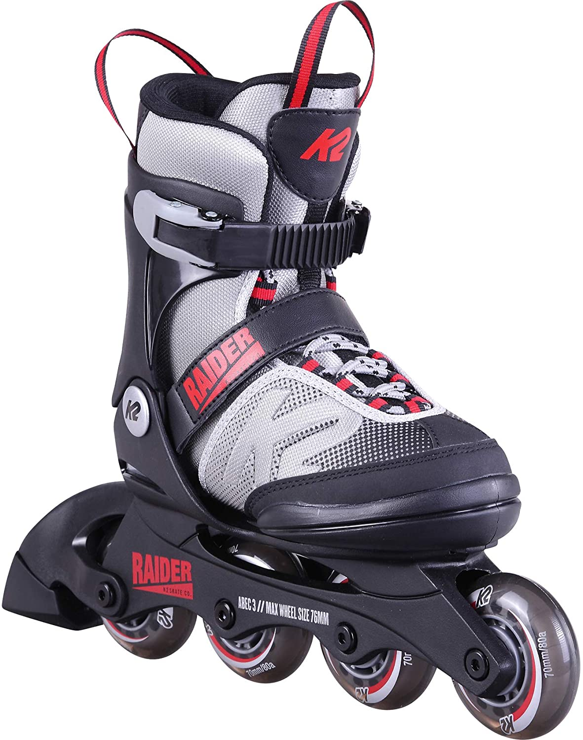 K2 Skate Youth Raider Inline Skates, Gray/Red