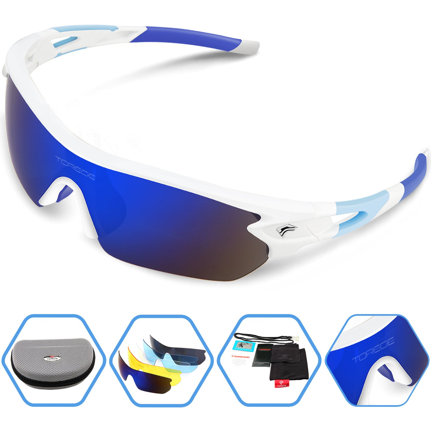 Torege Polarized Sports Sunglasses With 5 Interchangeable Lenes for Men Women Cycling Running Drivin...