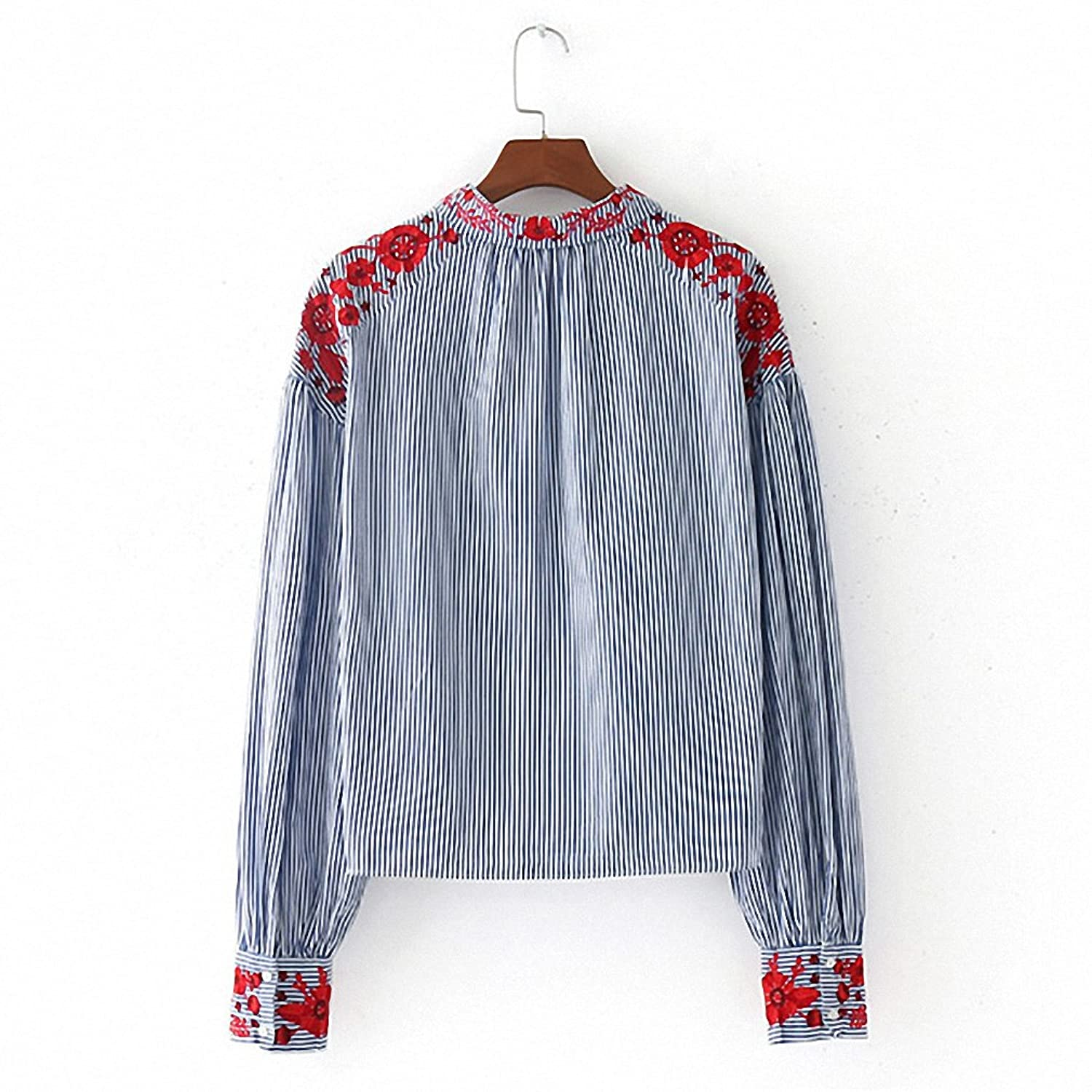 NEW Women Vintage Striped Floral Embroidery Shirt Long Sleeve Lapel Blouse Female Casual Streetwear Top Blusas Camisas Feminina As Show L at Amazon Womens ...