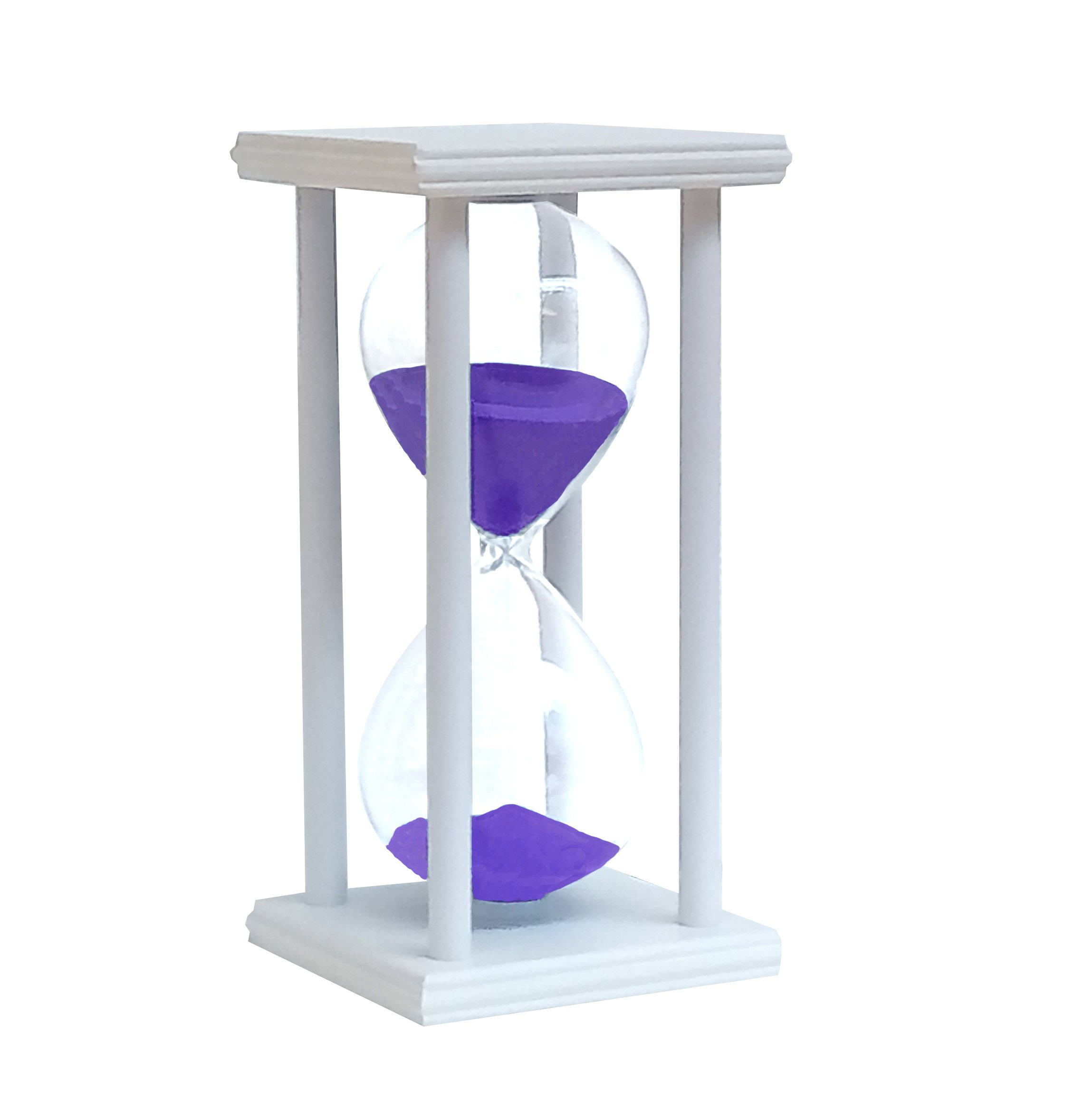 YuPing Hourglass 60 Minutes Wooden Frame Glass Sand Timer For Decorated Home Desktop Kitchen Clock (White Purple sand)