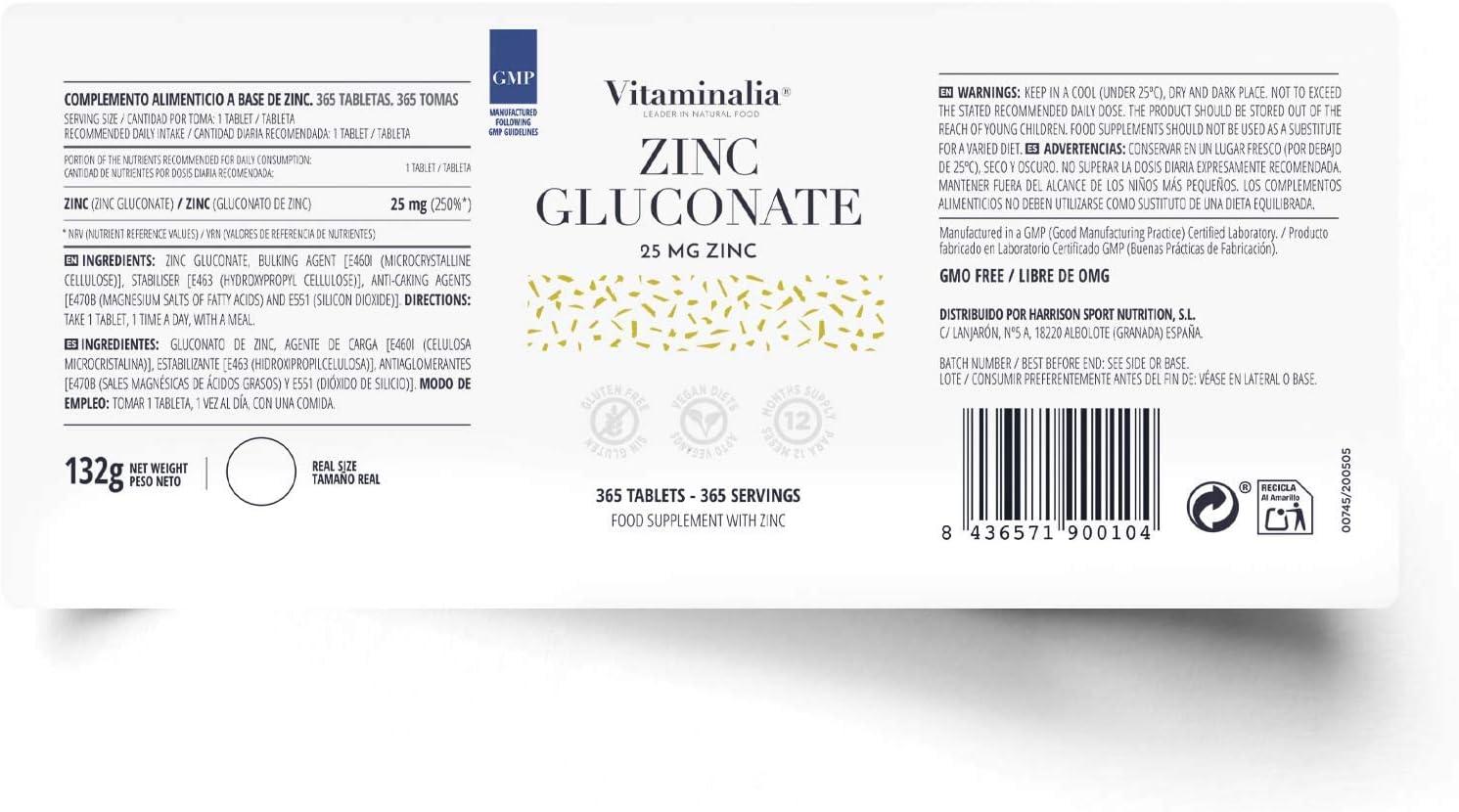 Suplemento de Zinc 25mg de Vitaminalia 365 Tabletas | Zinc Gluconate para 1 año | Antioxidante de alta biodisponibilidad | Vegano, Sin Gluten, Sin ...