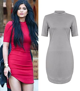 02fc360c312 4SQUARE NEW WOMENS CELEBRITY INSPIRED KYLIE JENNER POLO NECK DIP HEM  BODYCON SHORT MINI DRESS UK 8-14 LIGHT GREY (Medium Large UK 12-14)   Amazon.co.uk  ...