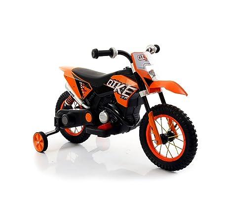 MEDIA WAVE store Motocicleta eléctrica Moto Cross Baby LT876 para niños - Con ruedas inflables -