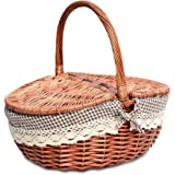 TSY Hand Made Wicker Basket Wicker Camping Picnic Basket Shopping Storage Hamper with Lid and Handle Wooden Color Wicker…