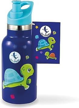 Blue Bananas 32097 - Botella de acero inoxidable para niños, 350 ml, alta calidad, botella de vacío de acero inoxidable, con diseño de tortuga: Amazon.es: Juguetes y juegos