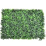 """LianLe Artificial Boxwood Hedge Artificial Plant 25"""" L X 15"""" W Greenery Panels Indoor/Outdoor Wall Decor - Dark green"""