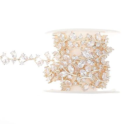 XIAOTAI Zircon Rhinestone Trims 1 Yard Diamond Inlaid Champagne Gold  Rhinestones for Crafts Clothing and Bridal 18b4f8c8a268
