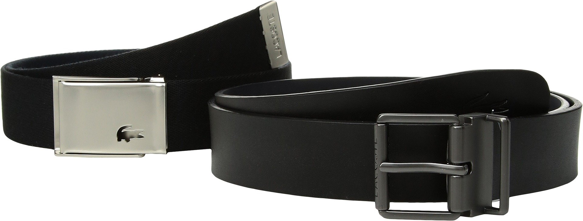 Lacoste Mens Dual Buckle Belt Black/Navy 100 (40'') One Size