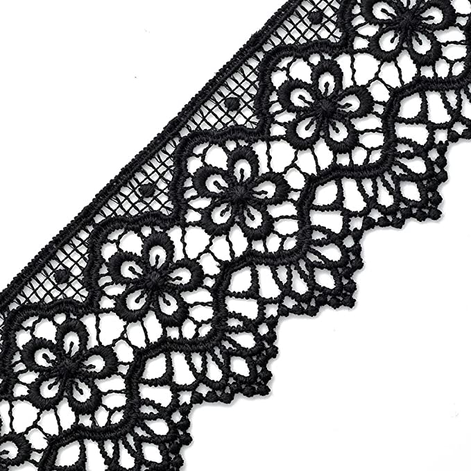 vintage French lace trim Black and gold spider web lace trim