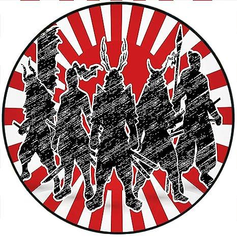 Amazon.com: Short Plush Round Area Rug Group of Samurai ...