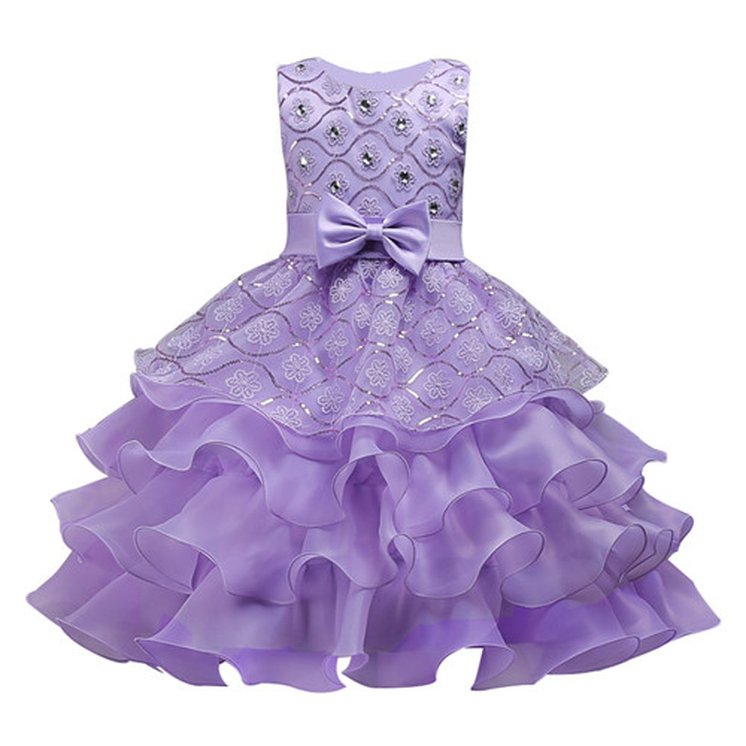 Knee Length Christmas Lace Ruffles Flower Girl Dresses Crystal O-Neck Pageant Dresses for Girls,Purple,Child-5