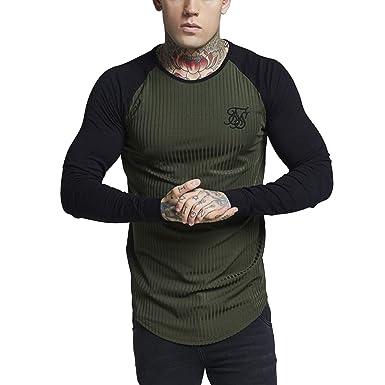 SikSilk - Camiseta - Manga Larga - para Hombre Verde Verde M