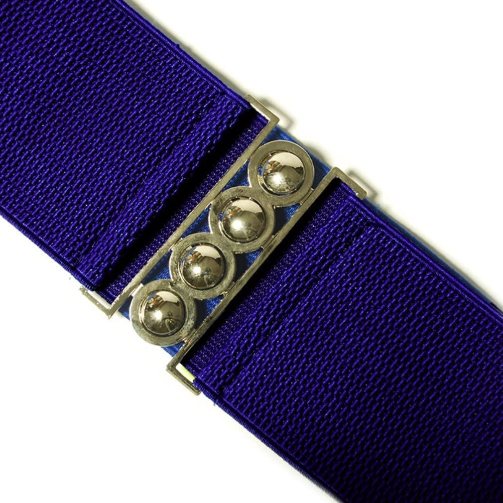 Elasticated Royal Blue Wide Waist Belt Silver Buckle 80s One Size