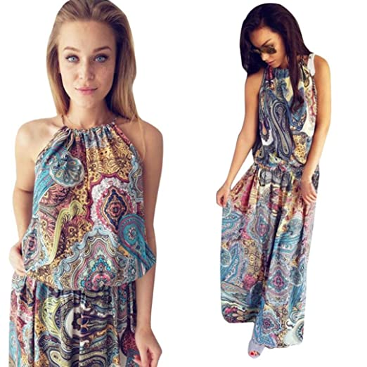 c2100a964a Women Bohemian Printed Beach Jumpsuit Womens Summer Vintage Boho Long Maxi  Evening Party Beach Floral Dress