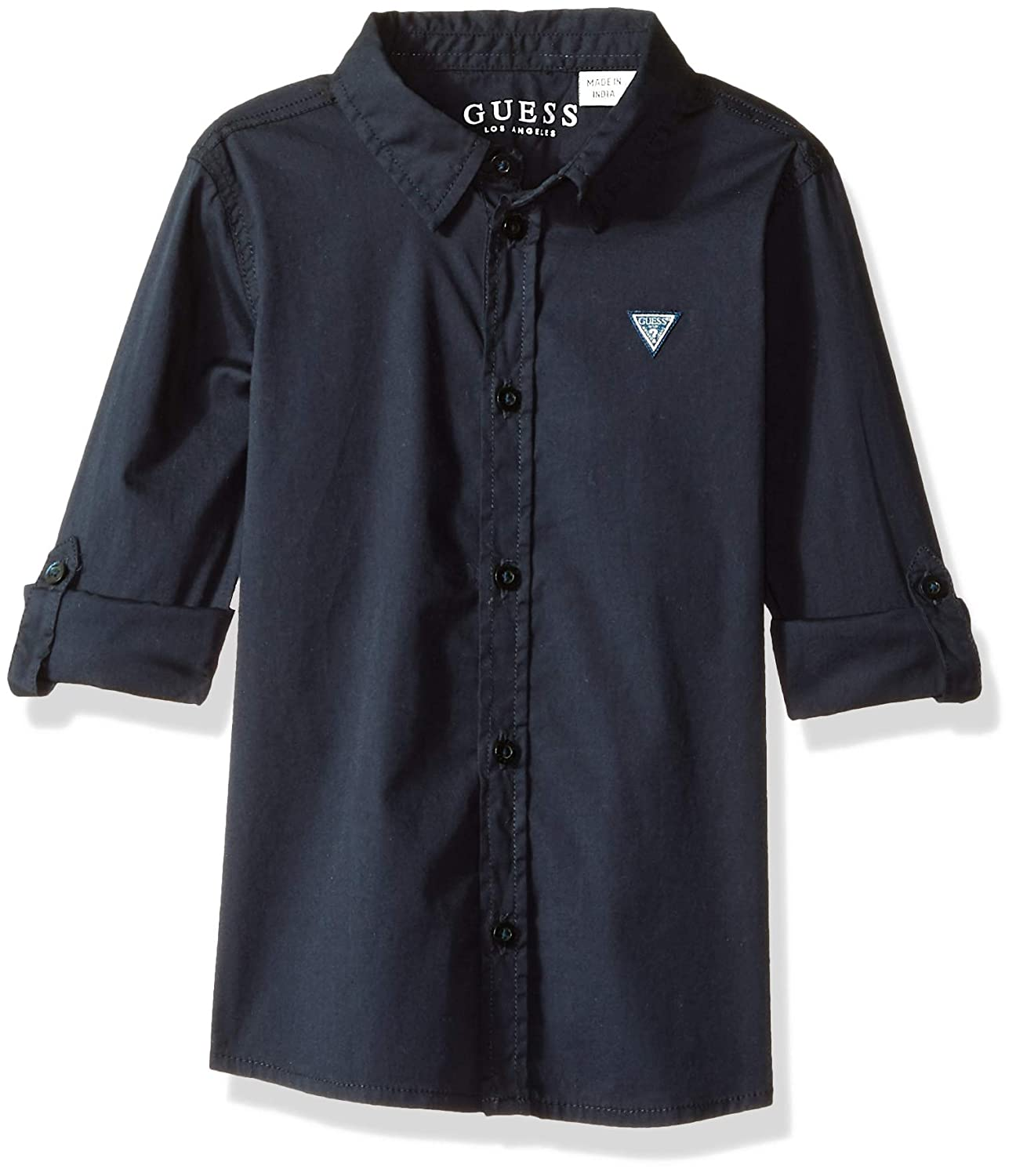 GUESS Boys Roll Up Sleeve Button Down Core Shirt