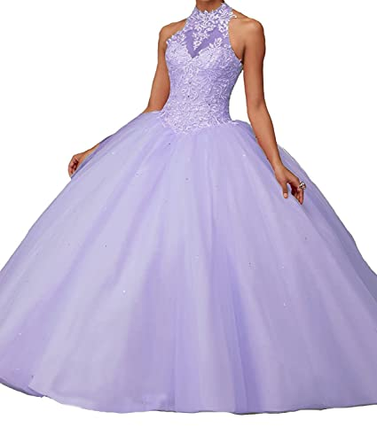 Lisa High Neck Puffy Ombre Prom Dresses Lace Ball Gown Quinceanera Dress